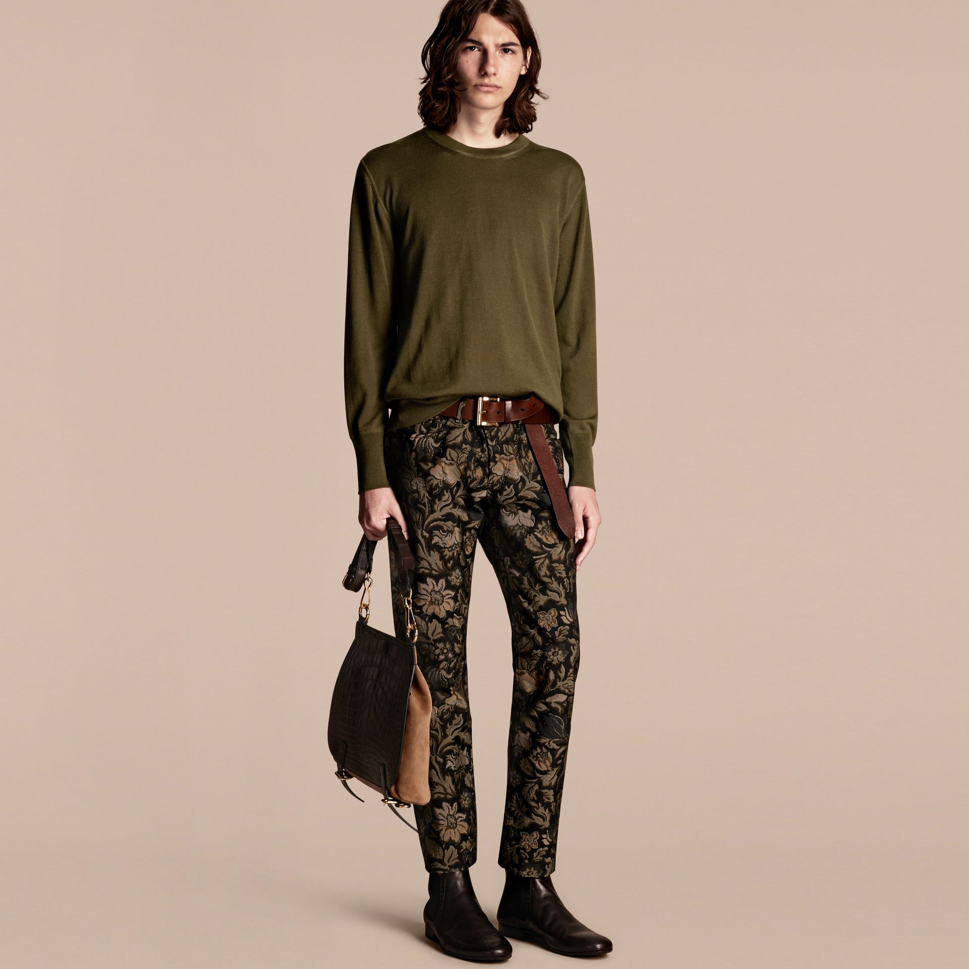 Crew Neck Cashmere Sweater in Military Olive - gallery image 1