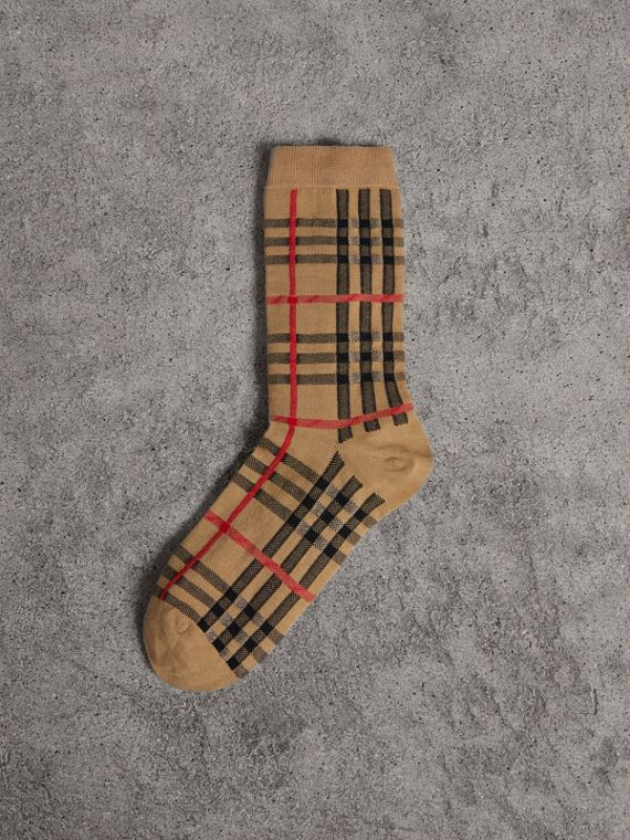 Vintage Check Cotton Blend Socks in Antique Yellow