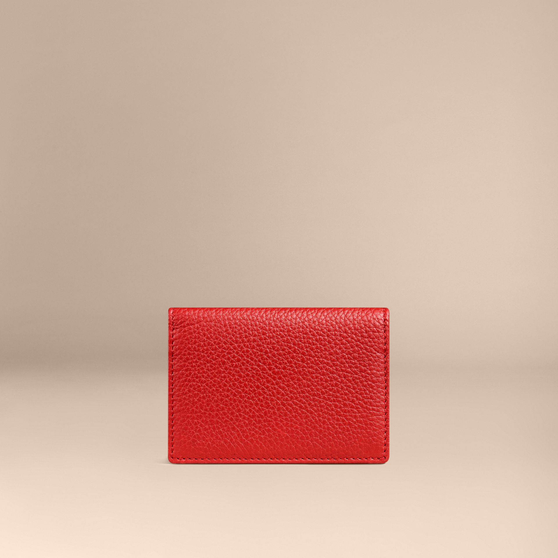 Grainy Leather Card Case in Parade Red | Burberry - gallery image 2