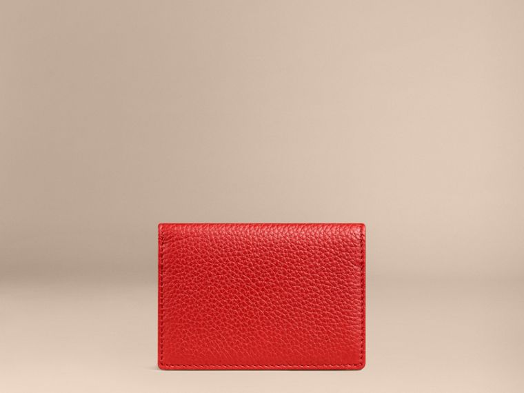 Grainy Leather Card Case in Parade Red | Burberry Canada - cell image 1