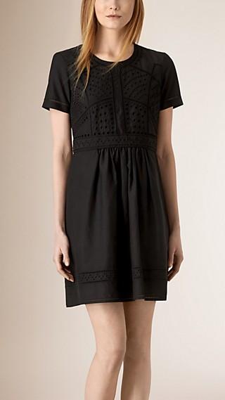 Broderie Anglais Detail Cotton Silk Dress