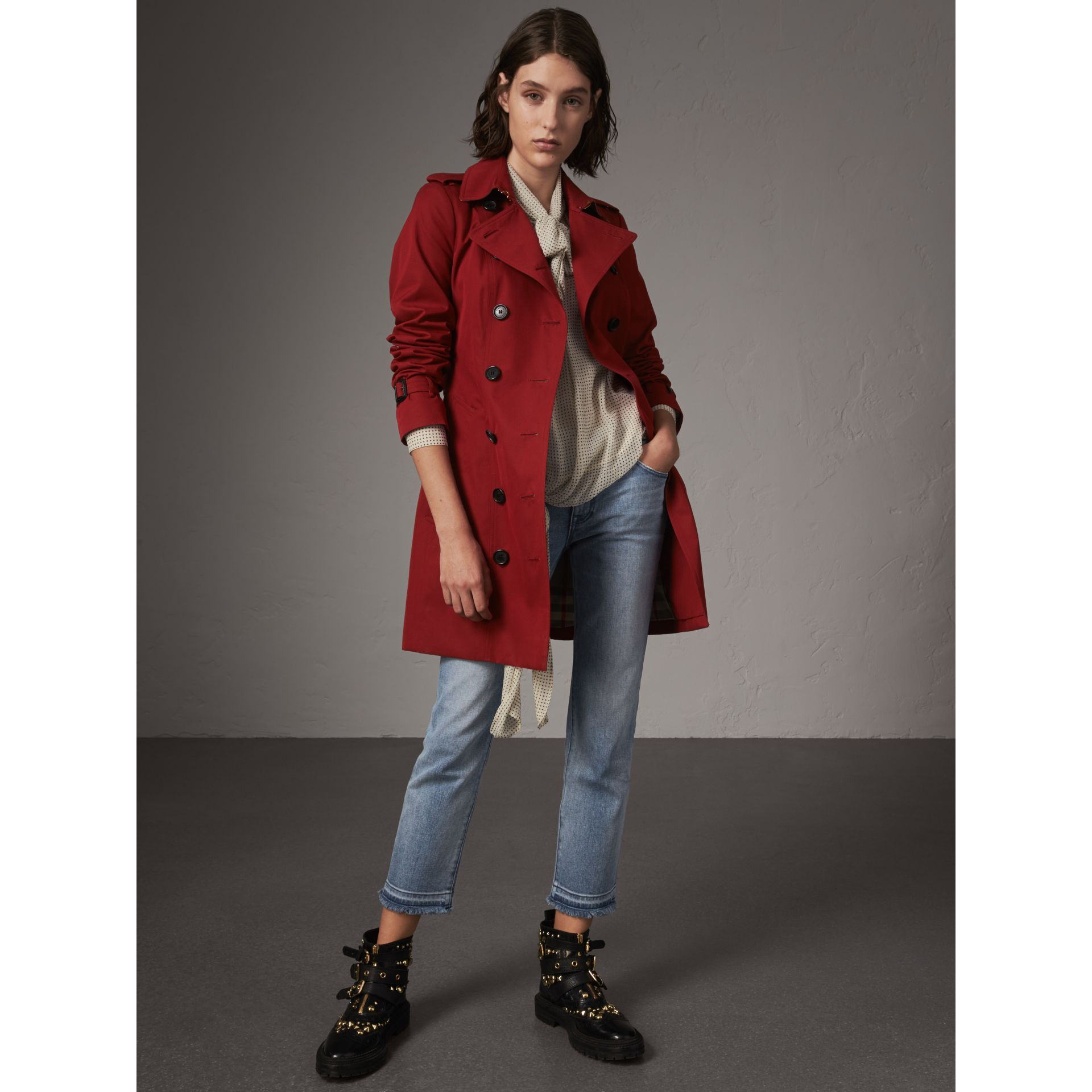The Sandringham – Mid-length Trench Coat in Parade Red - Women | Burberry United Kingdom - gallery image 1