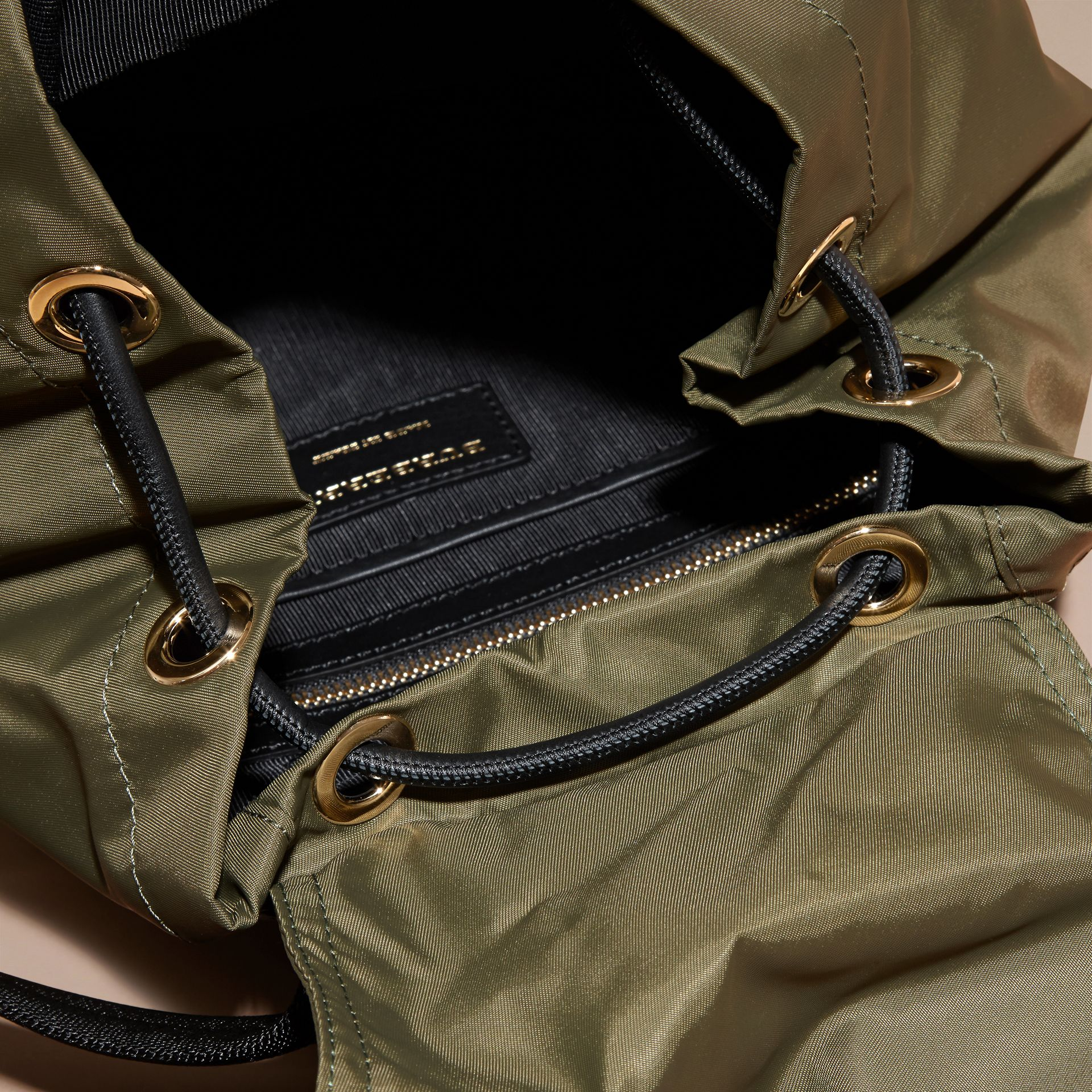 The Medium Rucksack in Technical Nylon and Leather in Canvas Green - gallery image 6