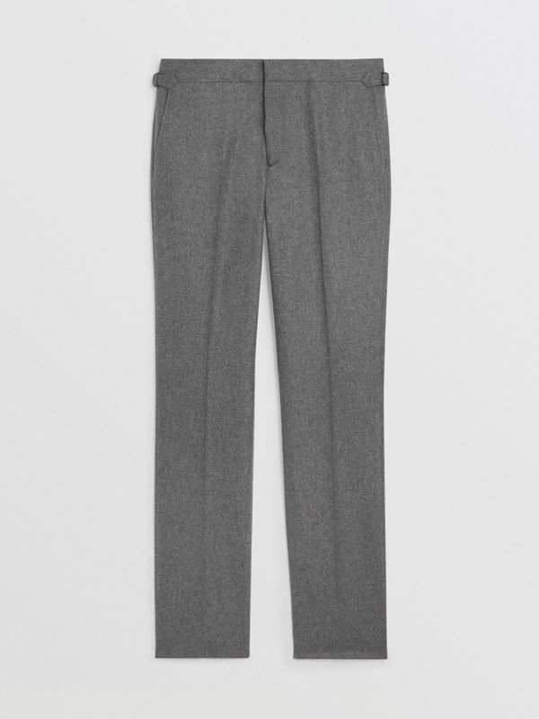Wool Cashmere Tailored Trousers in Mid Grey Melange - Men | Burberry Singapore - cell image 3