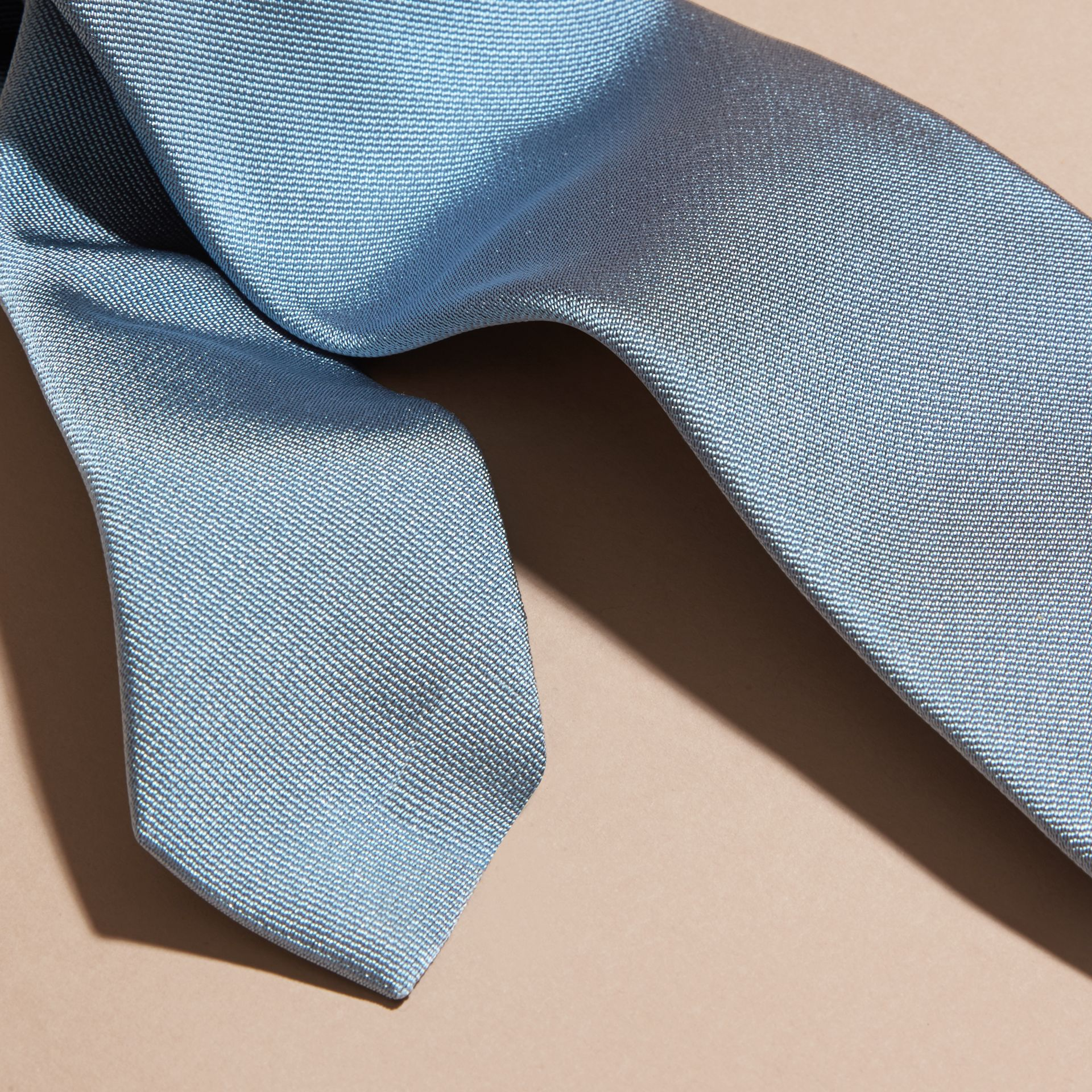 Sky blue Modern Cut Silk Twill Tie Sky Blue - gallery image 2