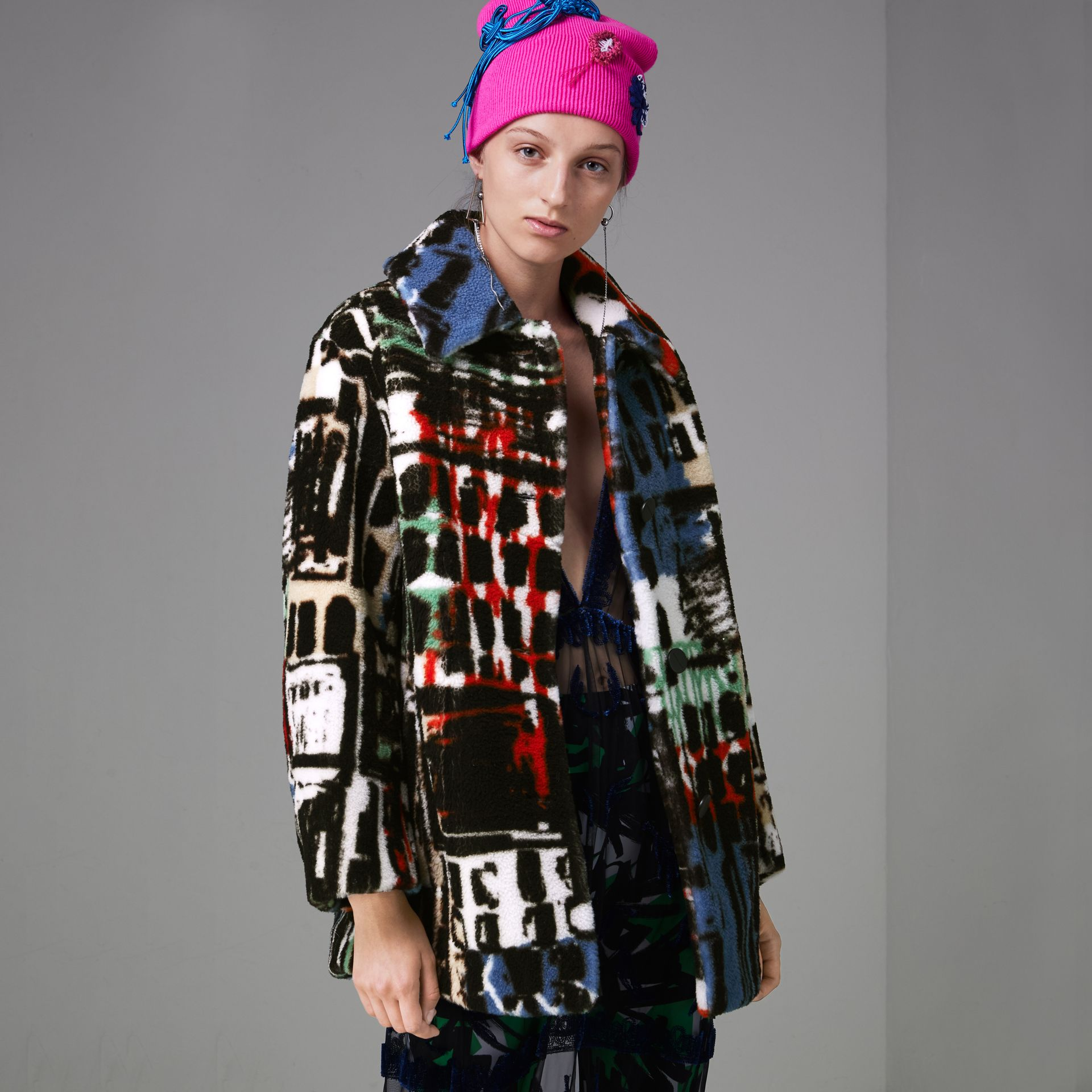 Graffiti Print Shearling Oversized Jacket in Steel Blue - Women | Burberry - gallery image 4