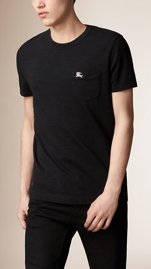 Black Slub Jersey Double Dyed T-Shirt - Image 1