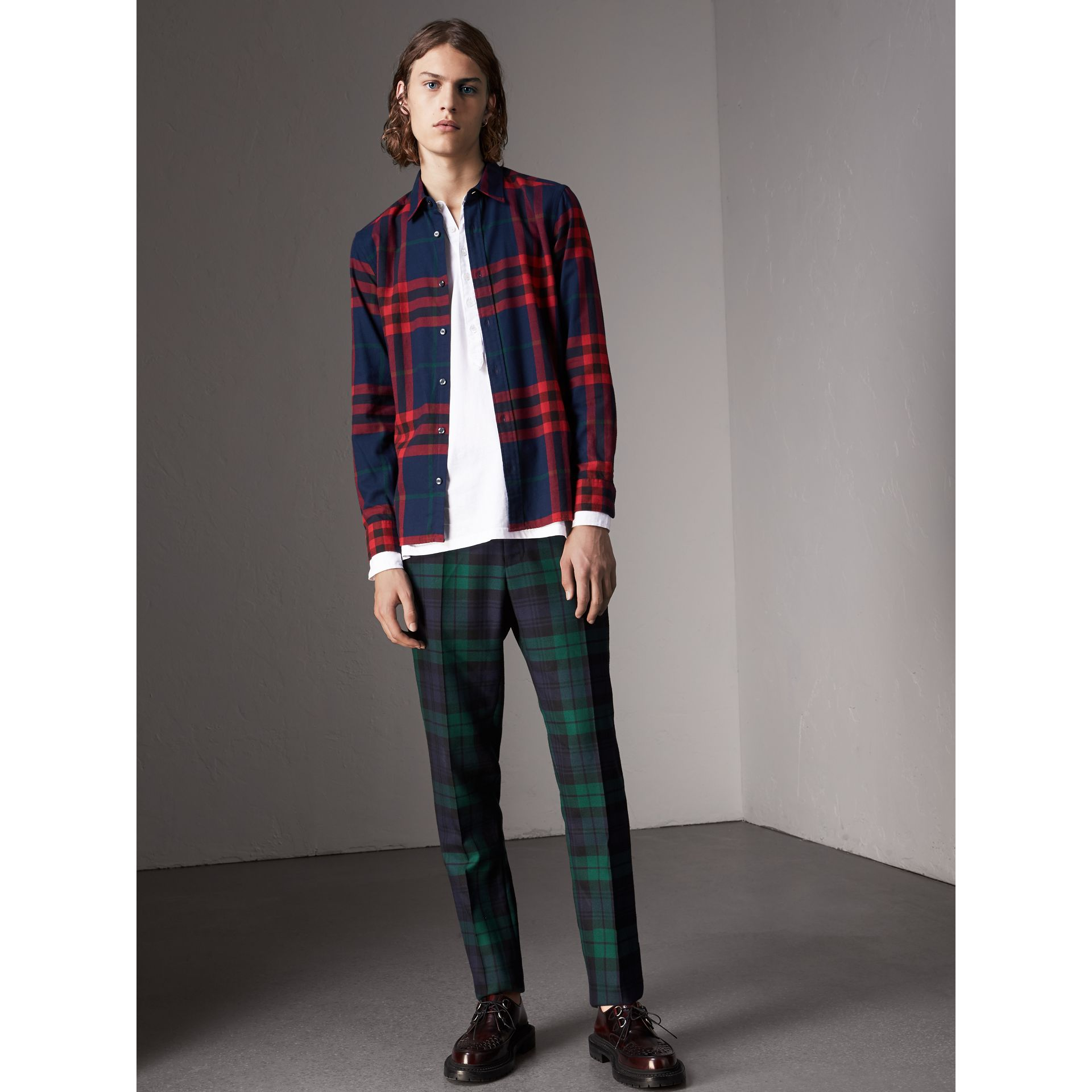 Check Cotton Flannel Shirt in Ink Blue - Men | Burberry Canada - gallery image 4