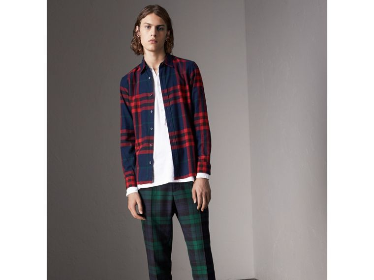 Check Cotton Flannel Shirt in Ink Blue - Men | Burberry - cell image 4