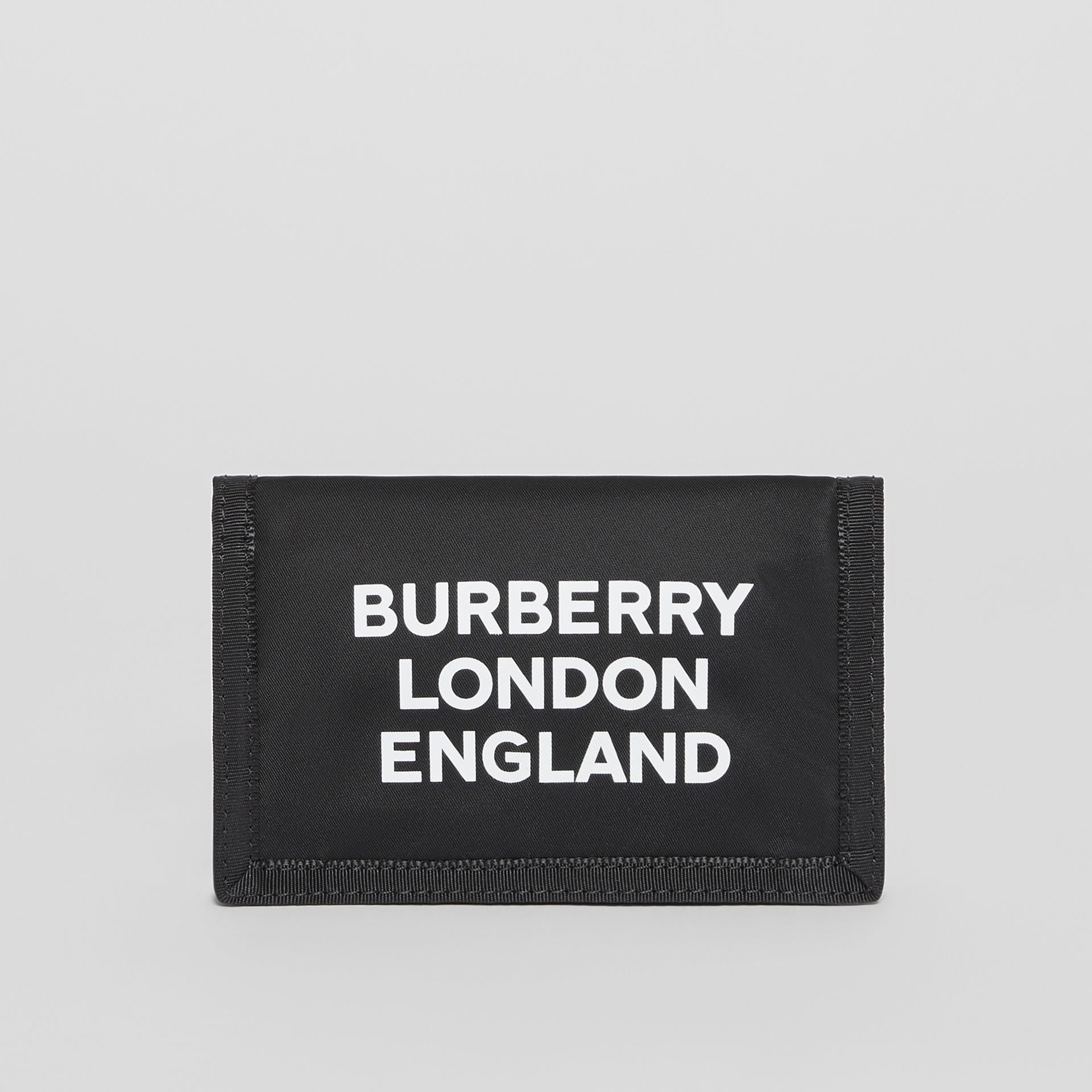 Logo Print Nylon Travel Wallet in Black/white | Burberry Australia - gallery image 2