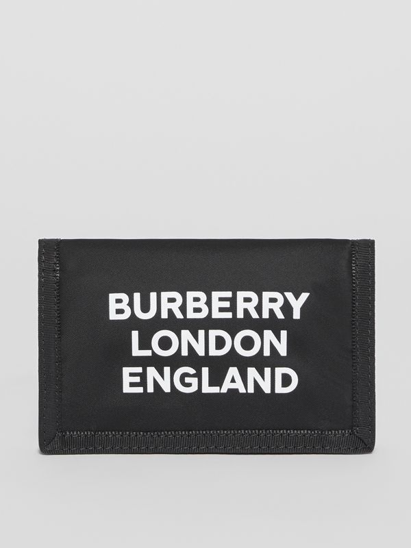 Logo Print Nylon Travel Wallet in Black/white | Burberry - cell image 2