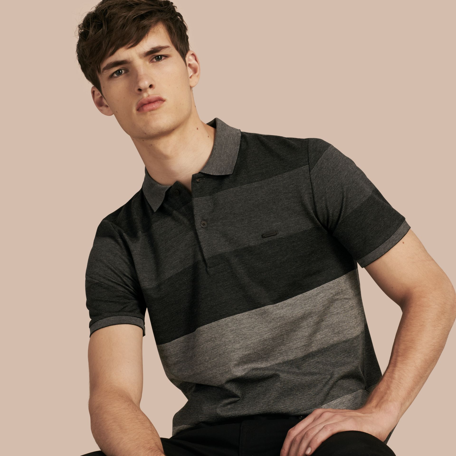 Mid grey melange Striped Stretch Cotton Piqué Polo Shirt Mid Grey Melange - gallery image 1