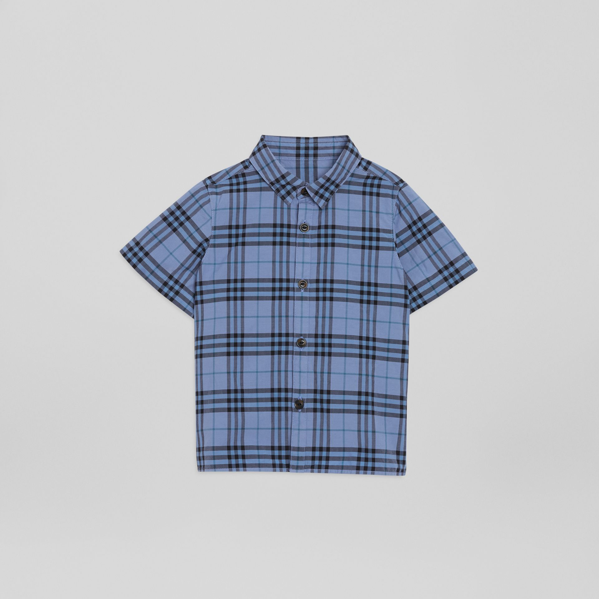Short-sleeve Check Cotton Shirt in Dusty Blue | Burberry - gallery image 0
