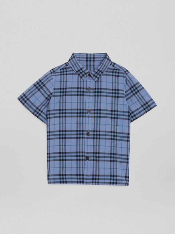 Kurzärmeliges Baumwollhemd mit Karomuster (Rauchblau)
