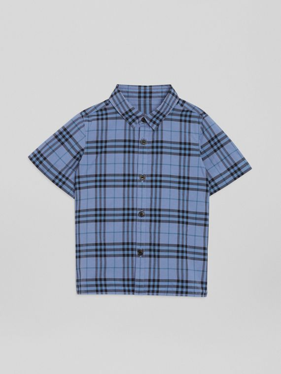 Camisa de manga corta en algodón a cuadros (Azul Terroso)