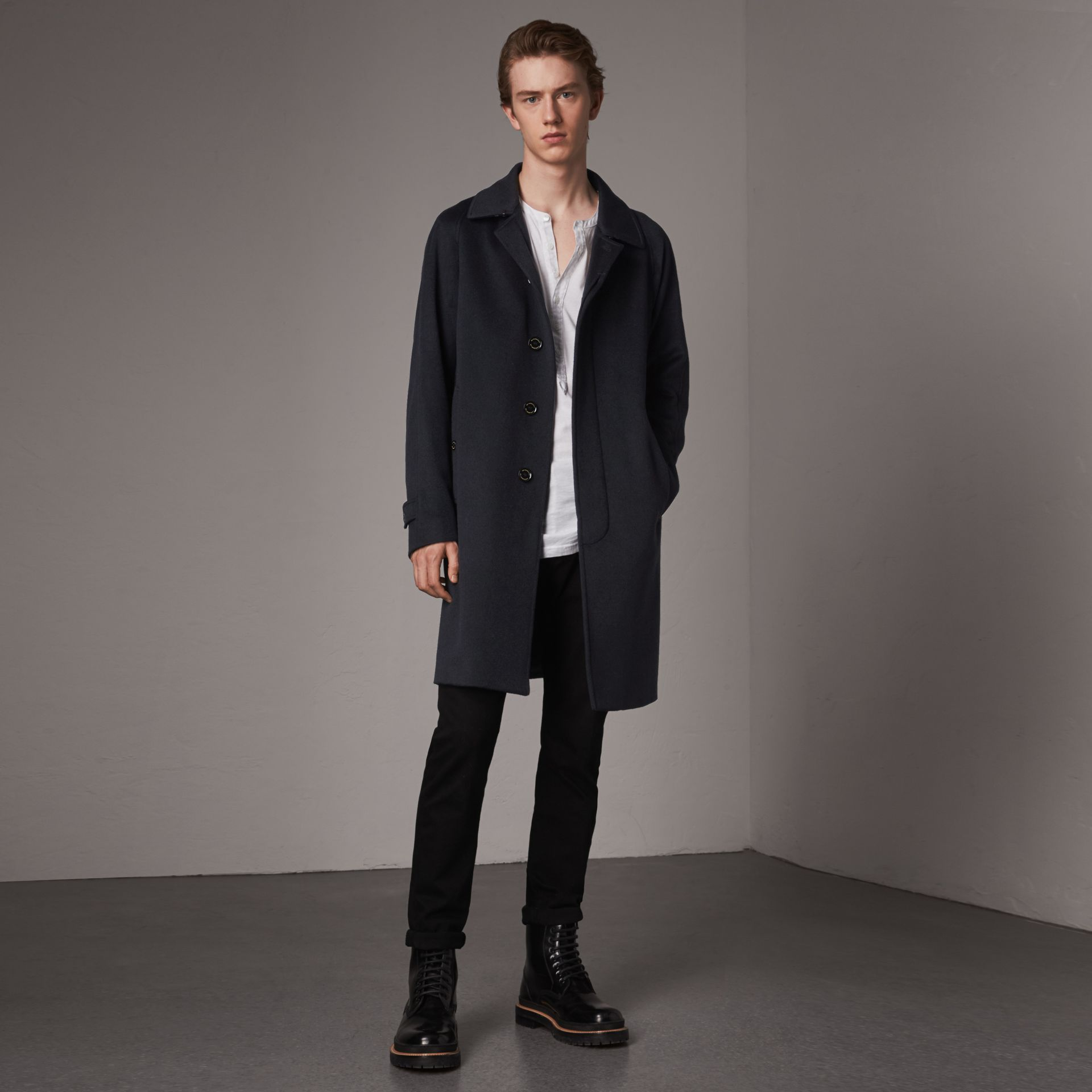 Cashmere Car Coat in Navy - Men | Burberry - gallery image 0