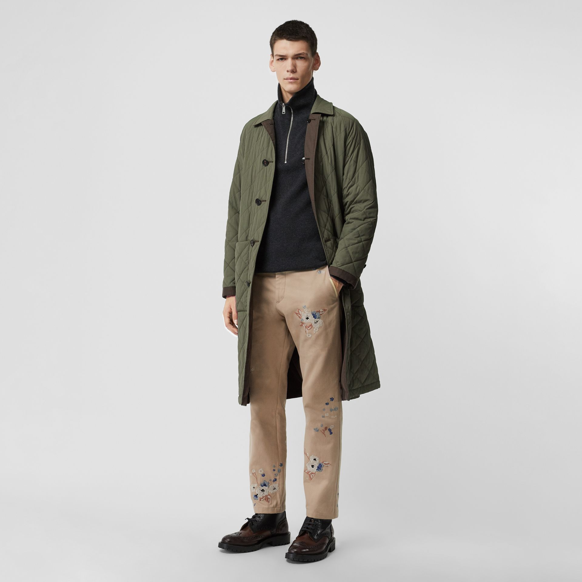 Slim Fit Floral Embroidered Cotton Chinos in Stone - Men | Burberry - gallery image 0