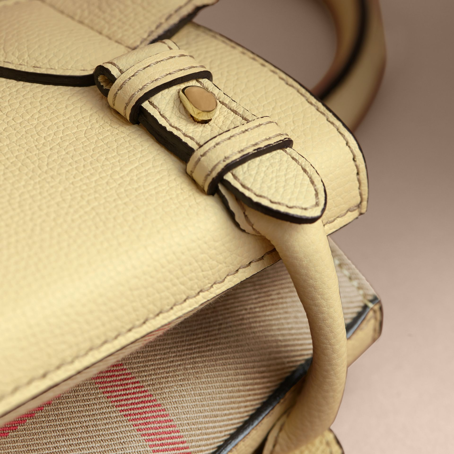 The Small Banner in Leather and House Check in Camomile Yellow - Women | Burberry - gallery image 7