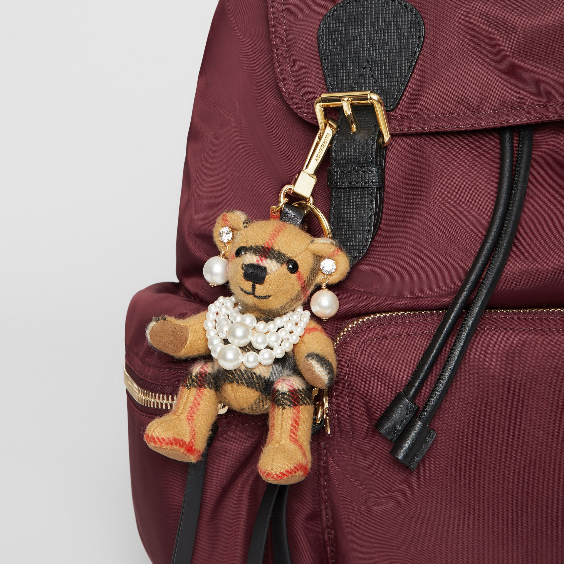 Thomas Bear Charm with Faux Pearls in Antique Yellow - Women | Burberry United Kingdom - gallery image 4
