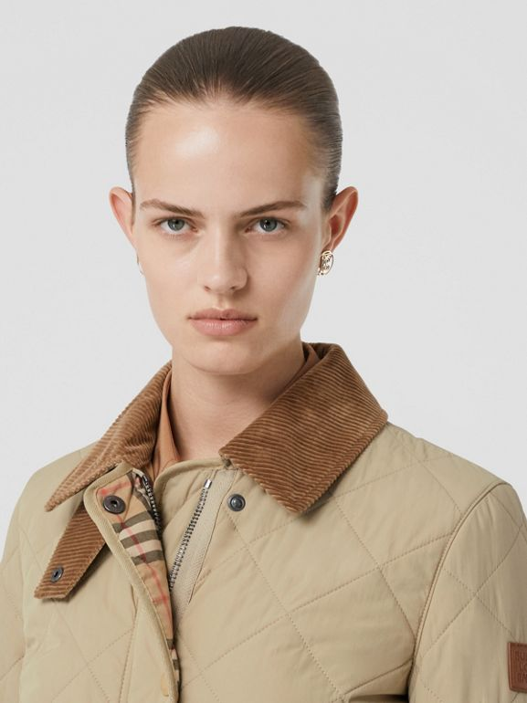 Diamond Quilted Thermoregulated Barn Jacket in Honey - Women | Burberry - cell image 1