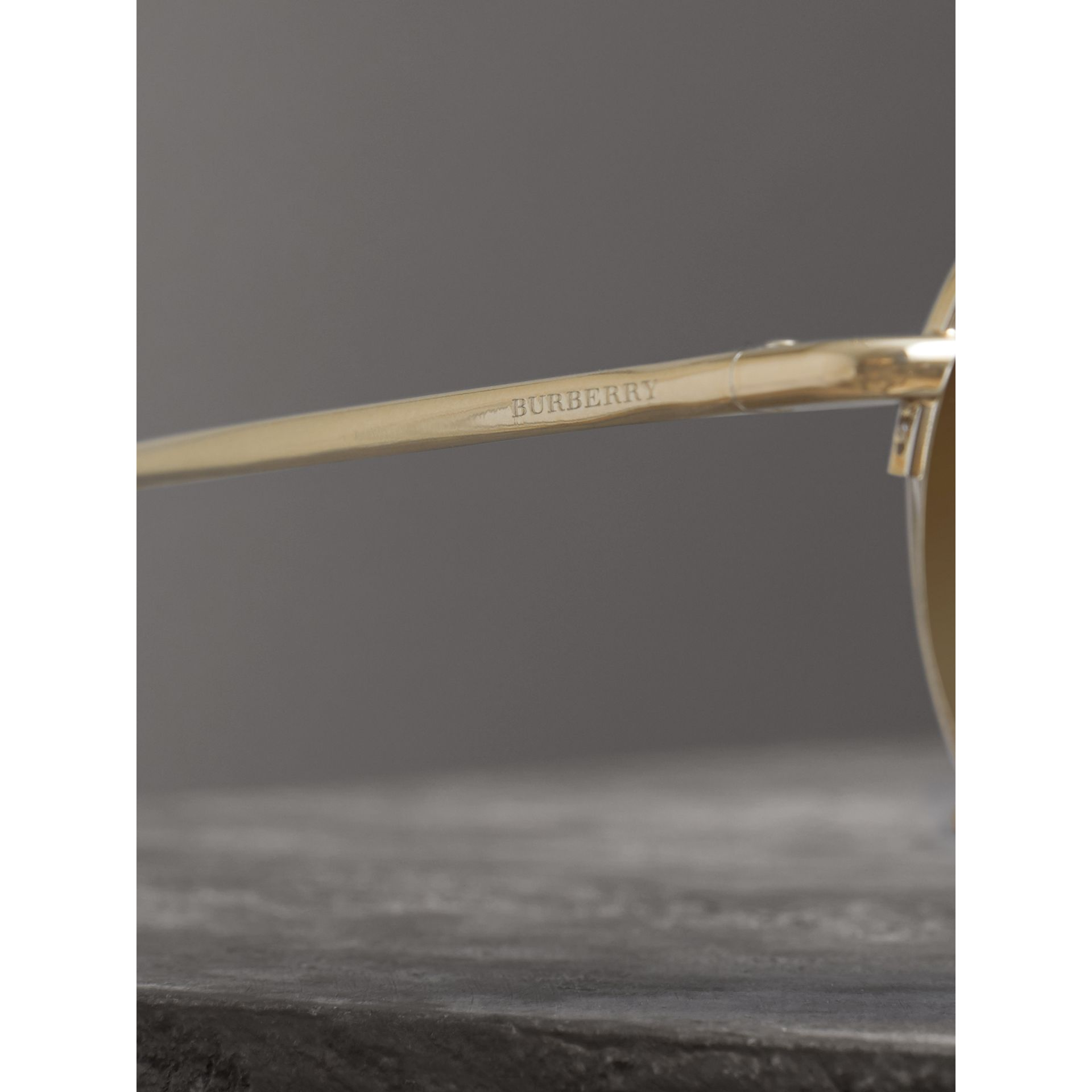 Check Detail Round Frame Sunglasses in Gold - Women | Burberry - gallery image 1