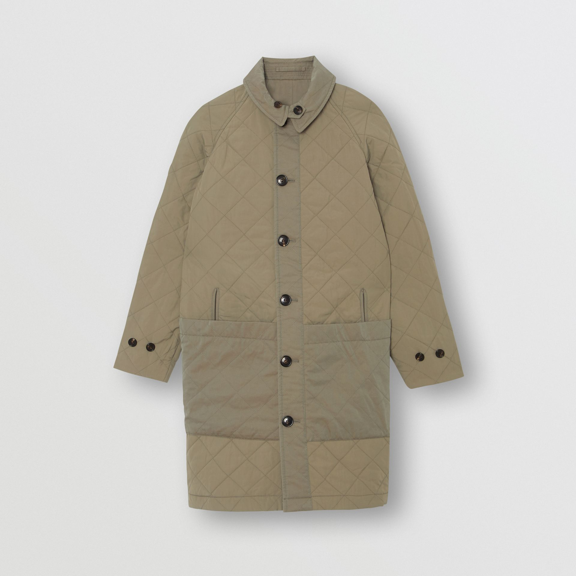Reversible Tropical Gabardine Car Coat in Chalk Green | Burberry - gallery image 3