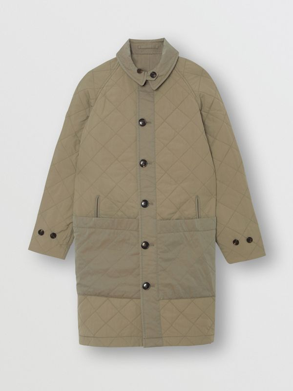 Reversible Tropical Gabardine Car Coat in Chalk Green - Children | Burberry - cell image 3