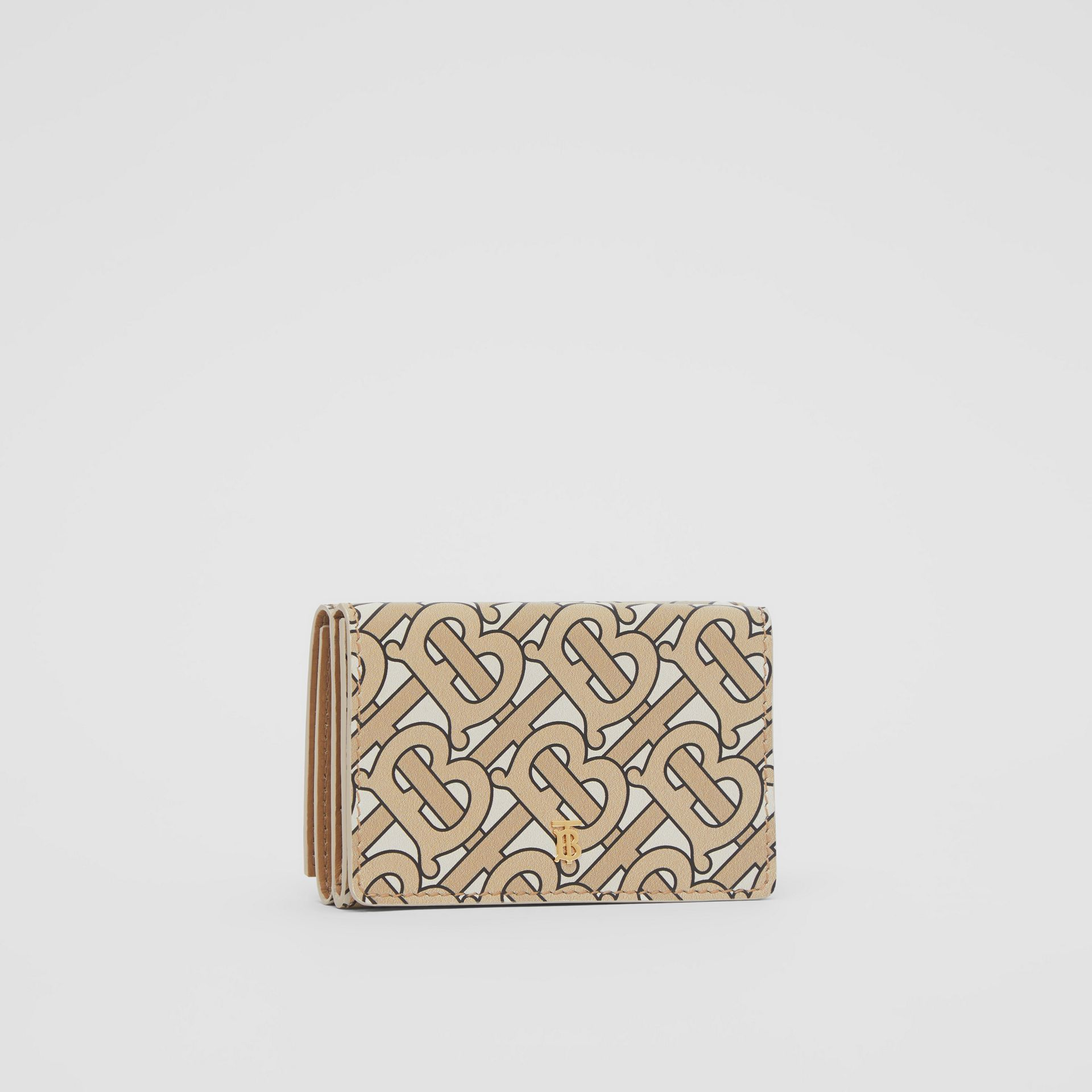 Small Monogram Print Leather Folding Wallet in Beige | Burberry United Kingdom - gallery image 3
