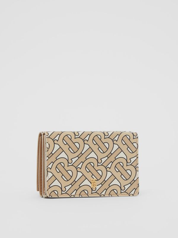 Small Monogram Print Leather Folding Wallet in Beige | Burberry United Kingdom - cell image 3