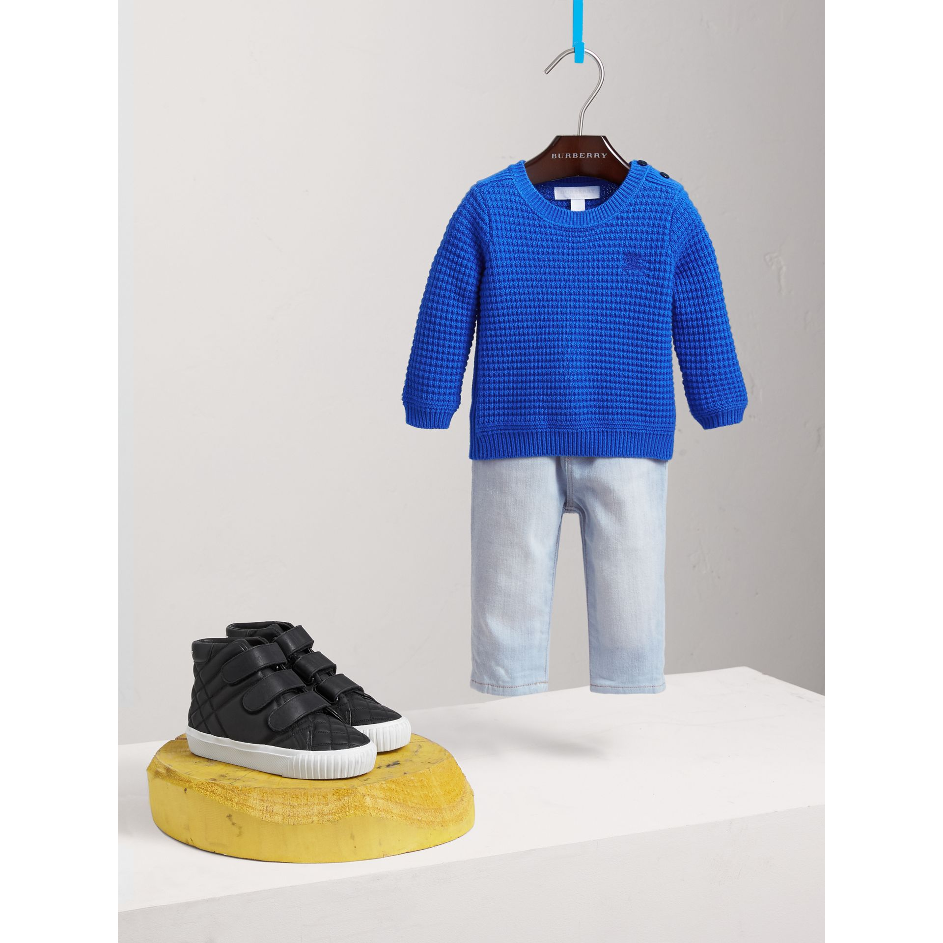 Waffle Knit Cotton Sweater in Cobalt Blue | Burberry - gallery image 0