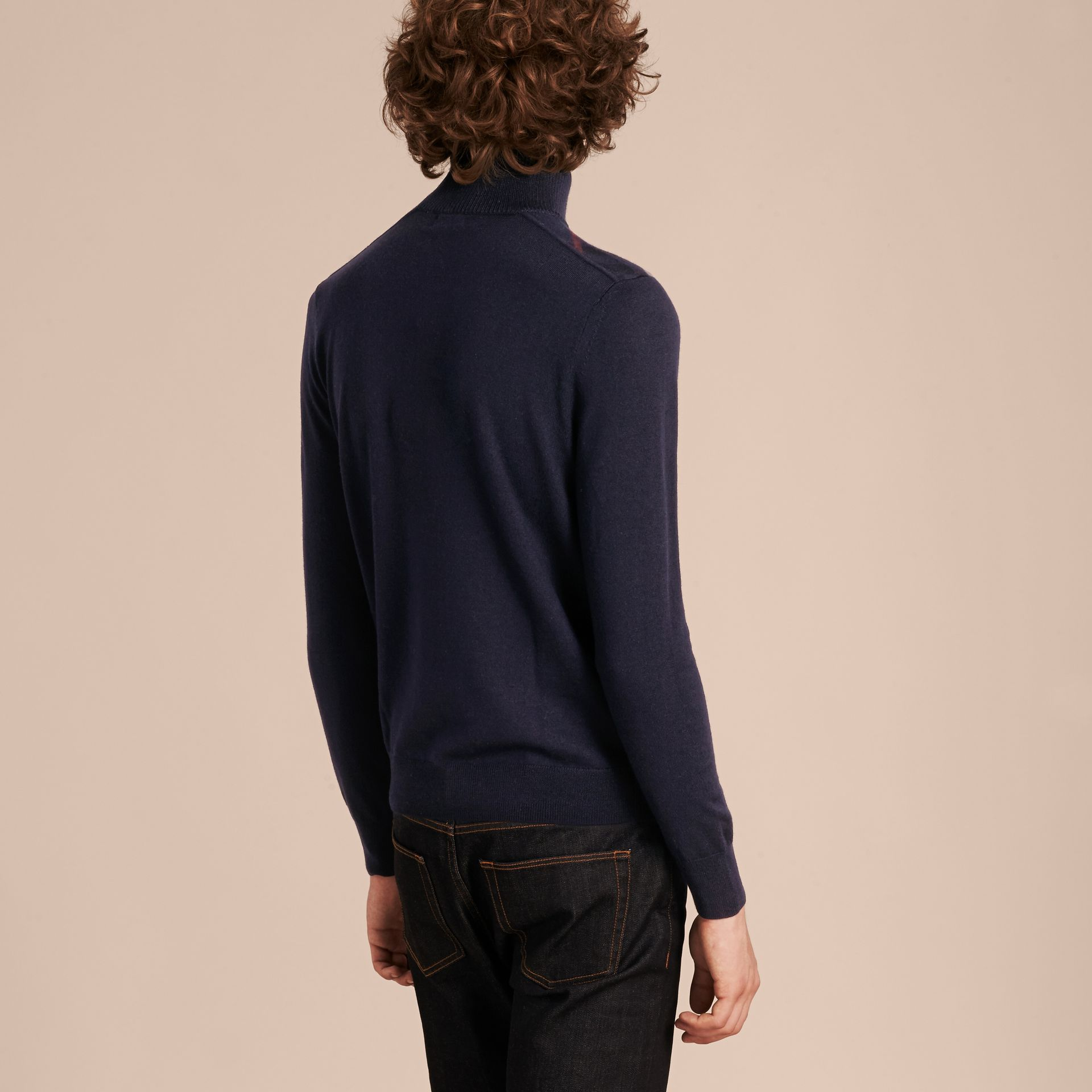 Navy Zip-collar Merino Wool Sweater Navy - gallery image 3