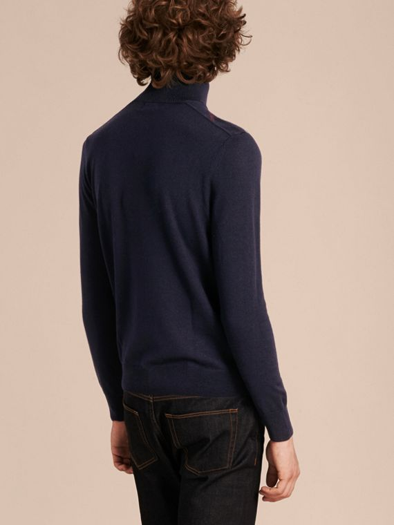 Navy Zip-collar Merino Wool Sweater Navy - cell image 2