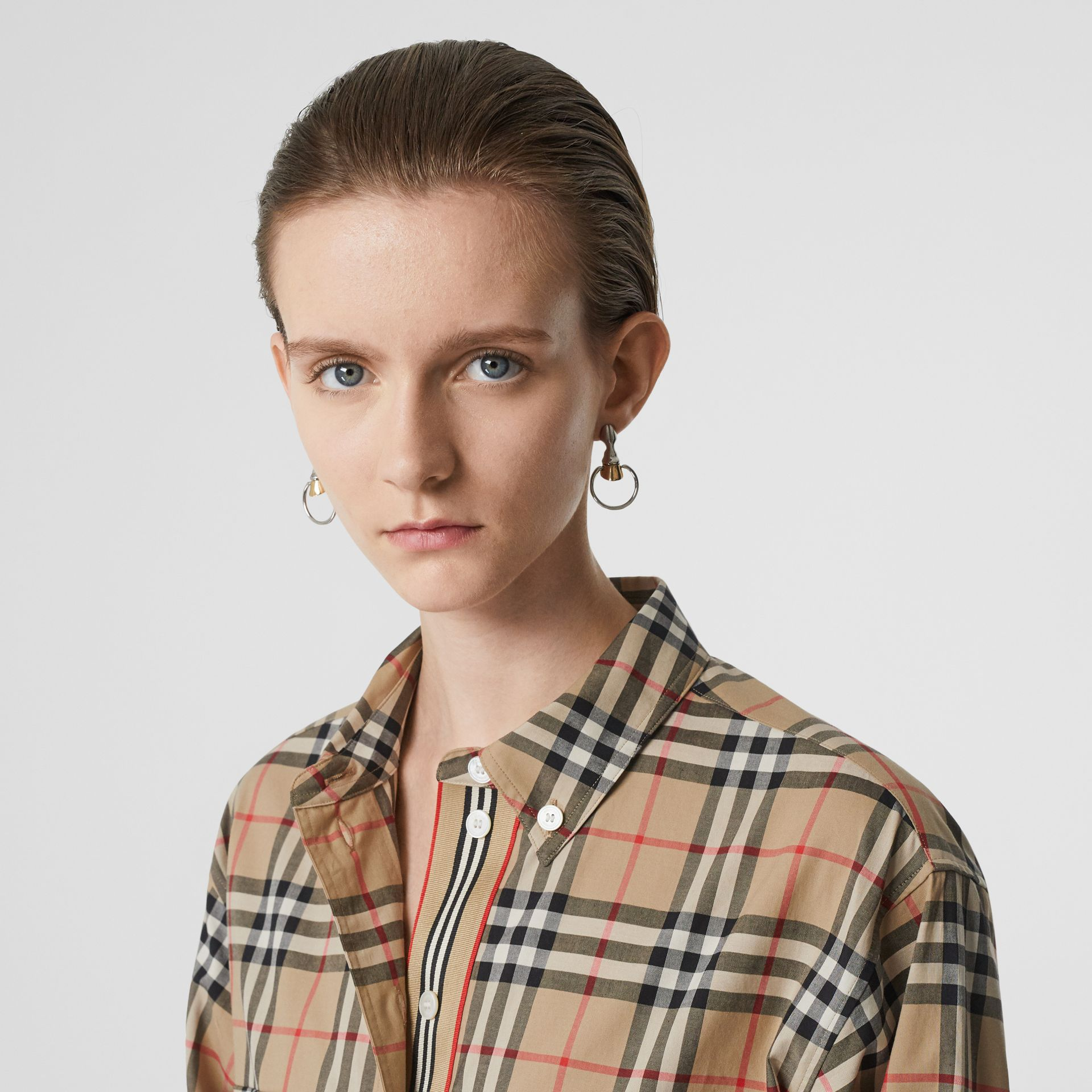 Button-down Collar Vintage Check Oversized Shirt in Archive Beige - Women | Burberry United Kingdom - gallery image 1