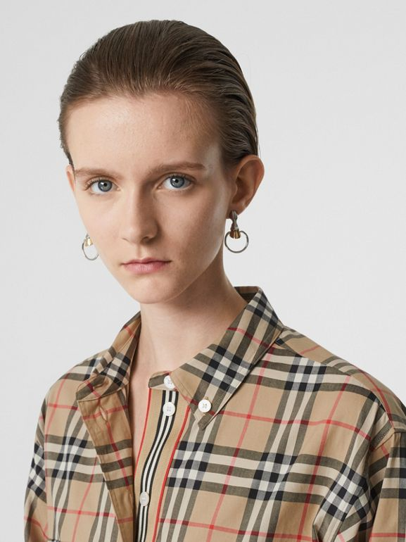 Button-down Collar Vintage Check Oversized Shirt in Archive Beige - Women | Burberry - cell image 1