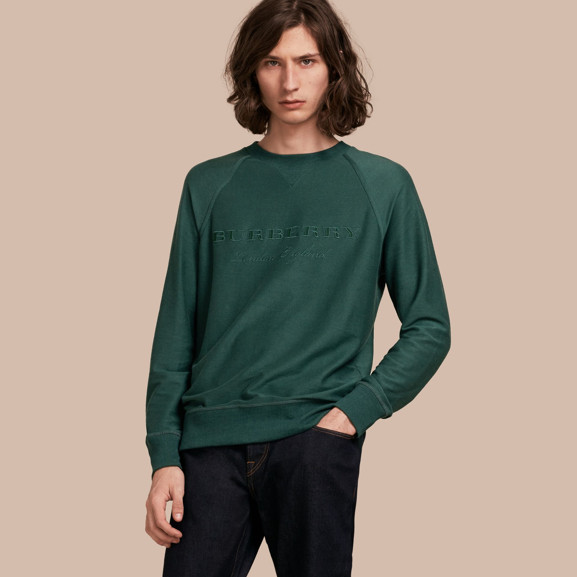 Embroidered Motif Cotton-blend Jersey Sweatshirt in Deep Teal - Men | Burberry - gallery image 1