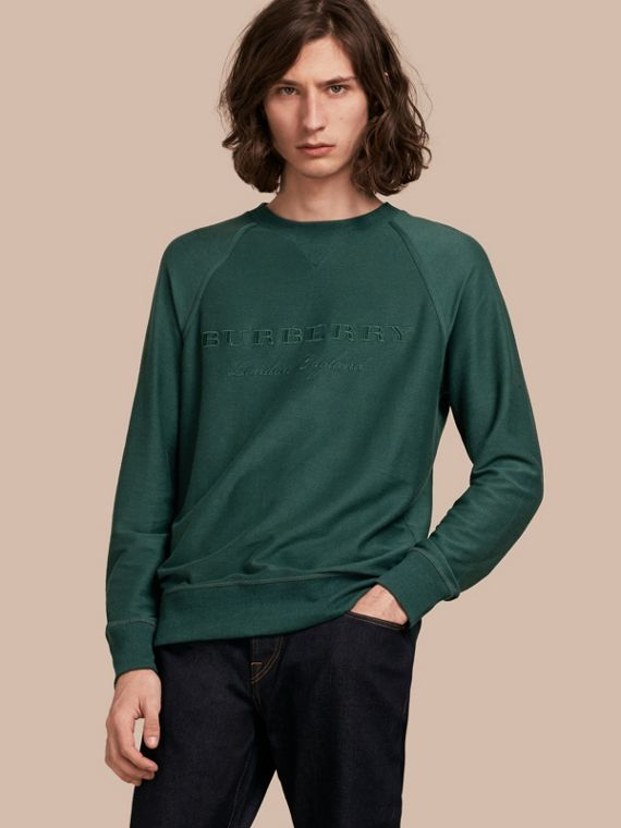 Embroidered Motif Cotton-blend Jersey Sweatshirt Deep Teal
