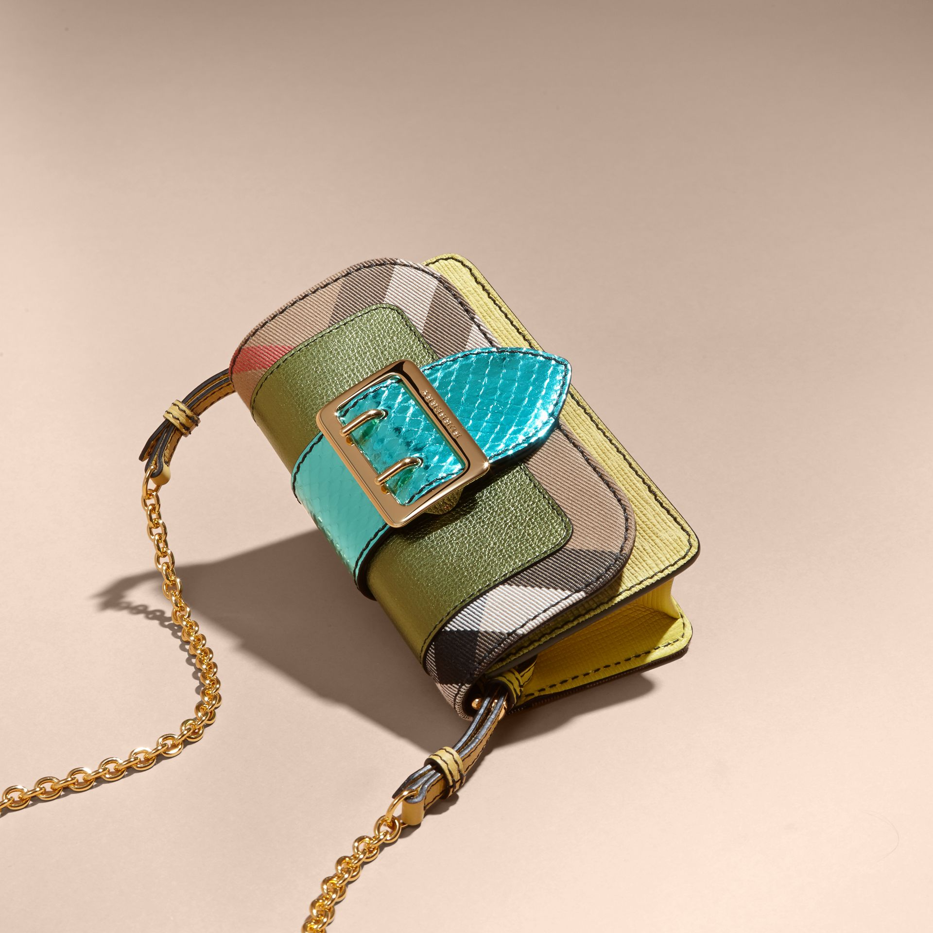 Olive green The Mini Buckle Bag in Leather and House Check - gallery image 7