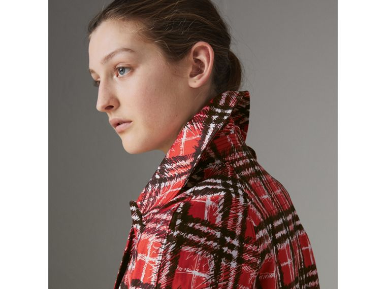 Scribble Check Bonded Cotton Car Coat in Bright Military Red - Women | Burberry - cell image 4