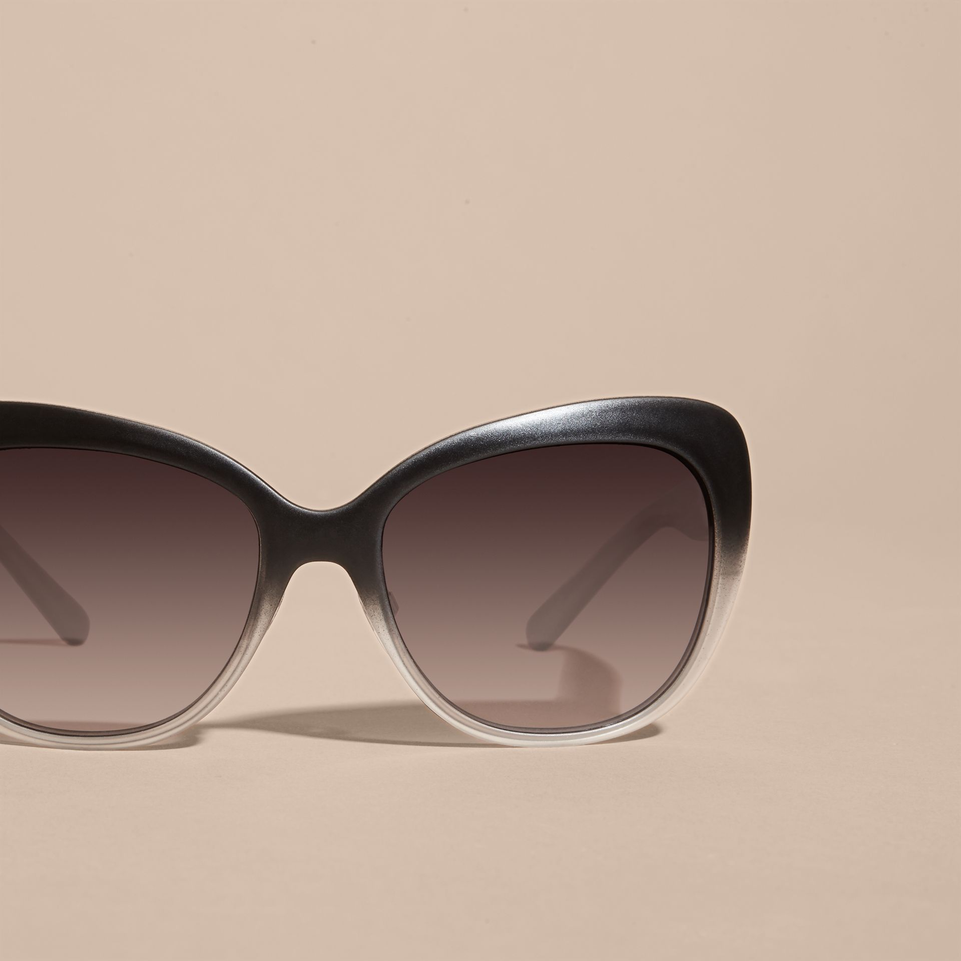 Black Check Detail Square Cat-eye Sunglasses Black - gallery image 3