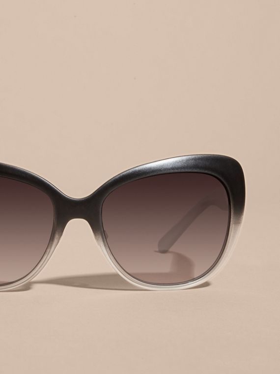 Black Check Detail Square Cat-eye Sunglasses Black - cell image 2