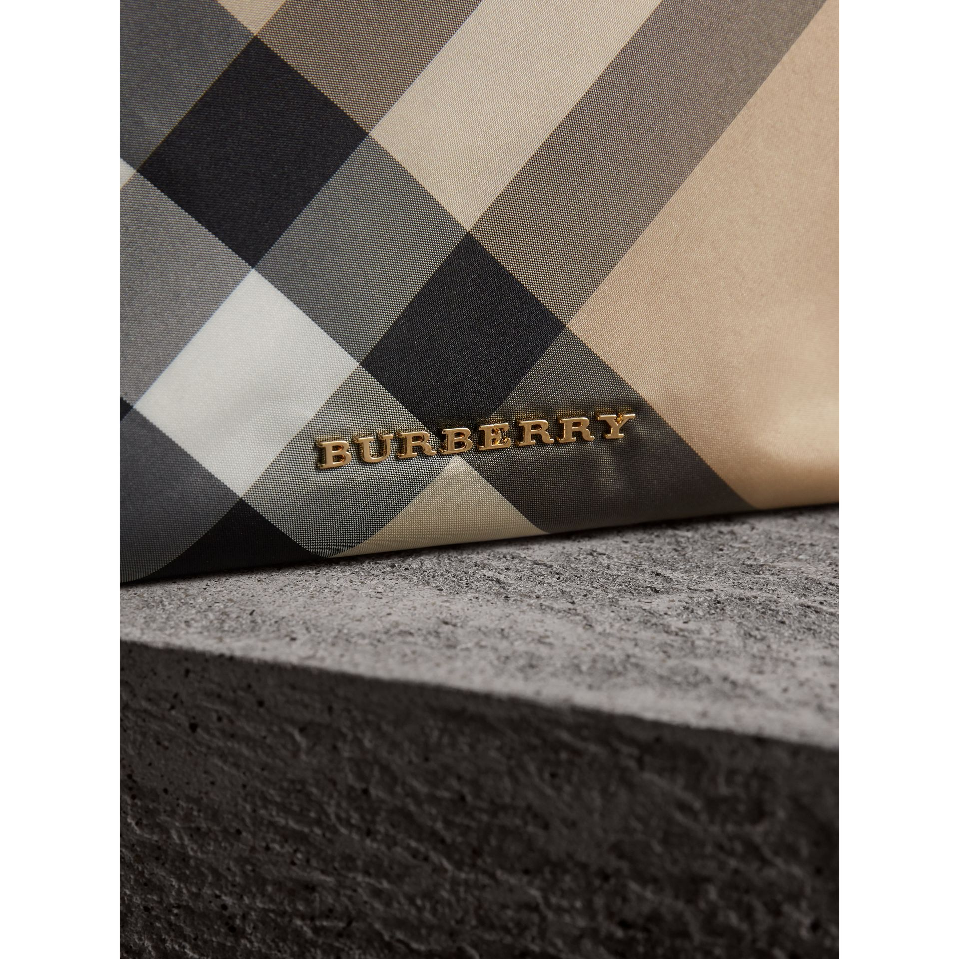 Large Zip-top Check Pouch in Camel - Women | Burberry Singapore - gallery image 6