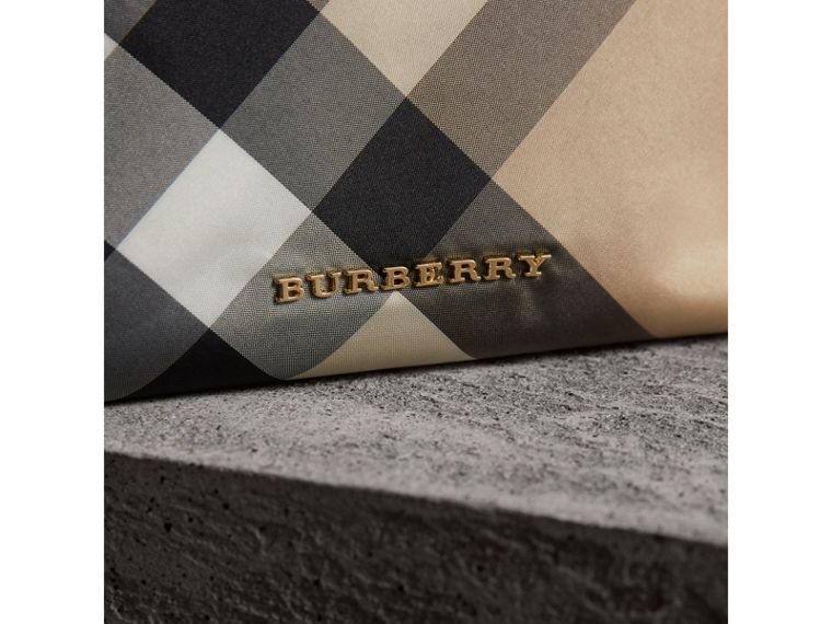 Large Zip-top Check Pouch in Camel - Women | Burberry - cell image 4