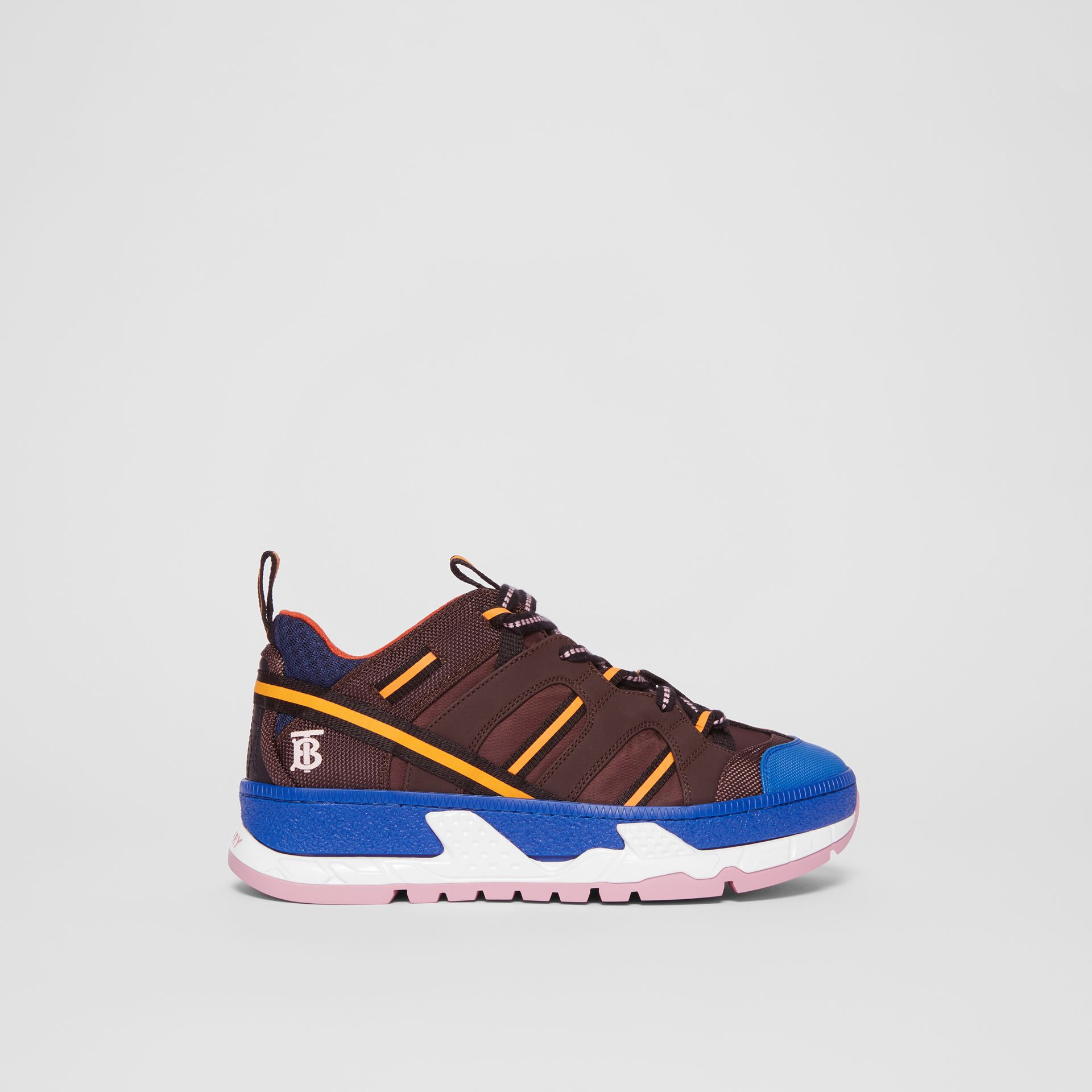 Nylon and Mesh Union Sneakers in Coffee/blue - Women | Burberry - gallery image 4