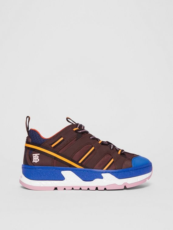 Nylon and Mesh Union Sneakers in Coffee/blue