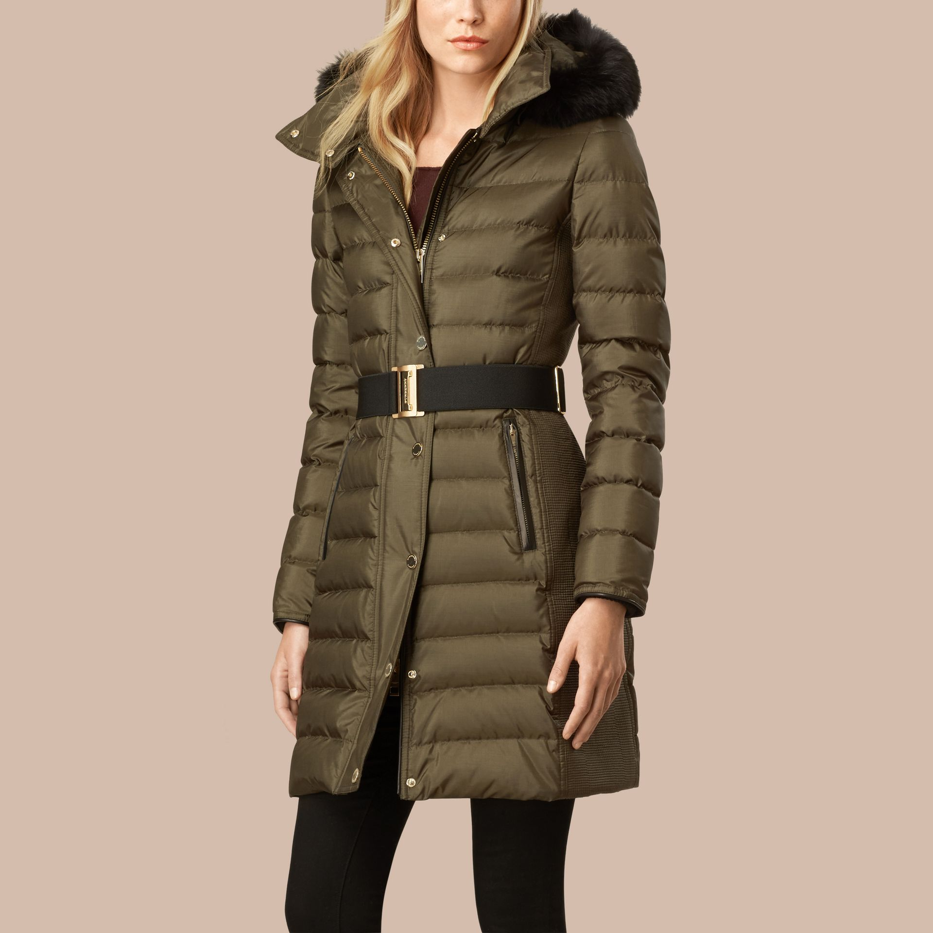 Dark olive Down-filled Coat with Fur-trimmed Hood Dark Olive - gallery image 4