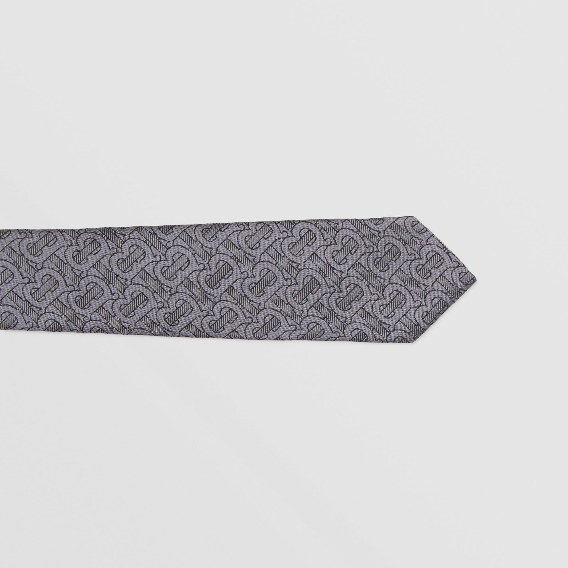 Classic Cut Monogram Silk Blend Jacquard Tie in Charcoal - Men | Burberry Hong Kong S.A.R - gallery image 1