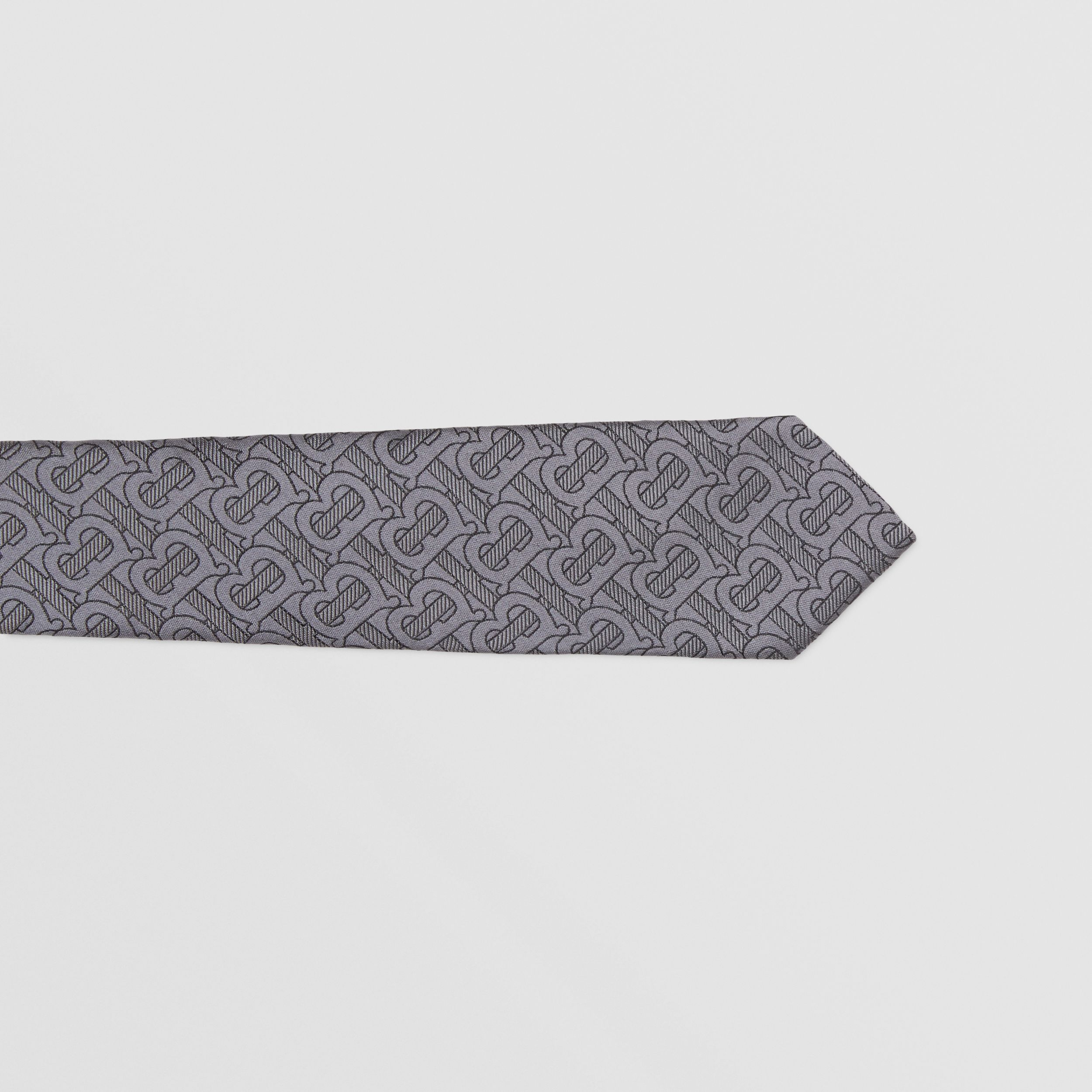 Classic Cut Monogram Silk Blend Jacquard Tie in Charcoal - Men | Burberry - 2