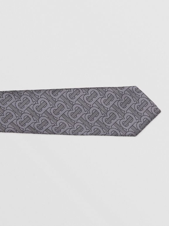 Classic Cut Monogram Silk Blend Jacquard Tie in Charcoal - Men | Burberry Hong Kong S.A.R - cell image 1