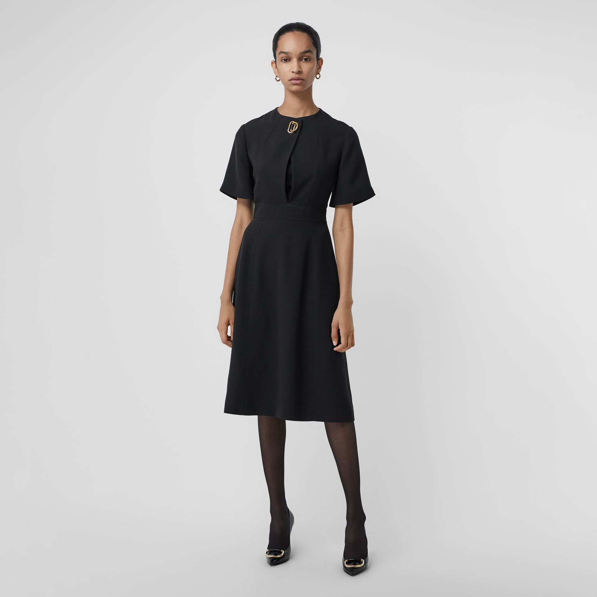 Short-sleeve D-ring Detail Silk Wool Dress in Black - Women | Burberry - gallery image 0