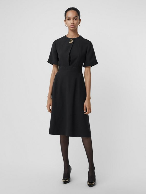 Short-sleeve D-ring Detail Silk Wool Dress in Black